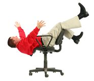 Businessman in red shirt falls from chairs upside. Dow on white Royalty Free Stock Images