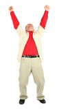 Businessman in red shirt with rised hands Royalty Free Stock Photos