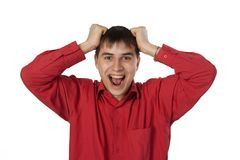 Businessman in a red shirt screaming Royalty Free Stock Images