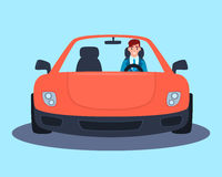 Businessman in a red sport car. Young successful businessman in a red sport car. Vector illustration Stock Image