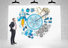 Businessman in red tie and blue target sketch Stock Images