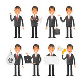 Businessman in red tie in different poses Royalty Free Stock Image