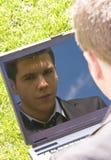 Businessman Reflecten On Laptop Royalty Free Stock Image