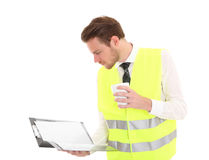 Businessman in a reflective vest Royalty Free Stock Images