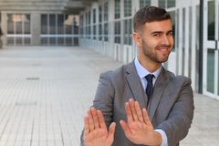 Businessman rejecting an inappropriate proposal.  royalty free stock photography