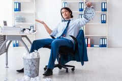 The businessman rejecting new ideas with lots of papers. Businessman rejecting new ideas with lots of papers royalty free stock images