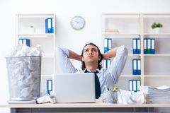 The businessman rejecting new ideas with lots of papers. Businessman rejecting new ideas with lots of papers stock image