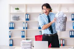 The businessman rejecting new ideas with lots of papers. Businessman rejecting new ideas with lots of papers stock images