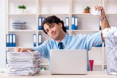 The businessman rejecting new ideas with lots of papers. Businessman rejecting new ideas with lots of papers royalty free stock photography