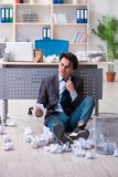 Businessman rejecting new ideas with lots of papers. The businessman rejecting new ideas with lots of papers royalty free stock photos
