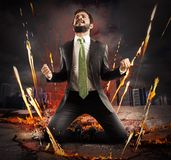 Businessman rejoices triumphantly Royalty Free Stock Image