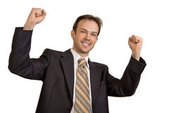Businessman rejoices in victory. Businessman in black suit rejoices in victory Royalty Free Stock Photo