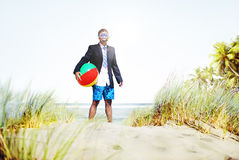 Businessman Relaxation Activity Beach Vacations Concept Stock Photo