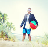 Businessman Relaxation Activity Beach Vacations Concept Royalty Free Stock Images