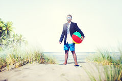 Businessman Relaxation Activity Beach Vacations Concept Royalty Free Stock Photo