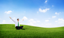 Businessman Relaxation in the Field Stock Photography