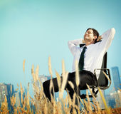 Businessman Relaxation Freedom Happiness Getaway Concept Royalty Free Stock Photo