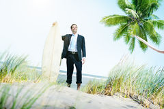 Businessman Relaxation Surfing Summer Beach Concept Royalty Free Stock Photography