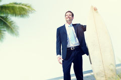 Businessman Relaxation Surfing Summer Beach Concept Stock Photo