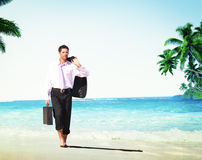 Businessman Relaxation Travel Beach Vacations Concept Royalty Free Stock Photo