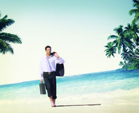 Businessman Relaxation Travel Beach Vacations Concept Stock Photos