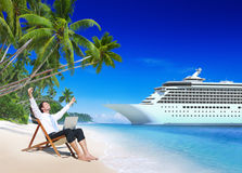 Businessman Relaxation Vacation Outdoors Beach Concept Royalty Free Stock Image