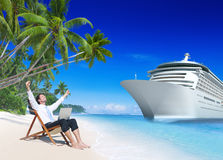 Businessman Relaxation Vacation Outdoors Beach Concept Royalty Free Stock Images