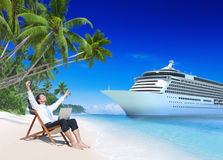 Businessman Relaxation Vacation Outdoors Beach Concept Stock Photography