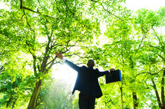 Businessman Relaxation in the Woods Stock Photography