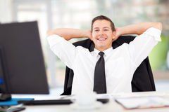 Businessman relaxed office Stock Photography