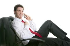 Businessman relaxed sit on chair talking Royalty Free Stock Photos