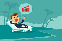 Businessman relaxing on beach chair looking at bar chart on smart phone screen. Happy businessman relaxing on beach chair and looking at bar chart on smart phone stock illustration