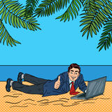 Businessman Relaxing on the Beach. Man on Tropical Vacation with Laptop. Pop Art Stock Image