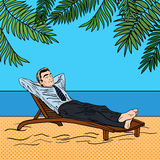 Businessman Relaxing on the Beach. Man on Tropical Vacation. Pop Art. Stock Images
