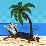 Businessman Relaxing on the Beach. Man on Tropical Vacation. Pop Art. Vector illustration Royalty Free Stock Photography