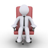Businessman is relaxing on chair. 3d businessman is sitting on an armchair Stock Image