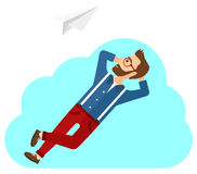 Businessman relaxing on cloud Royalty Free Stock Images