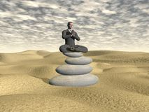 Businessman relaxing - 3D render. Businessman relaxing on balanced stones in the desert - 3D render Royalty Free Stock Photos