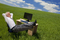 Businessman Relaxing In a Green Office stock photos