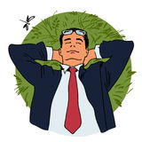 Businessman is relaxing lying on grass. royalty free illustration