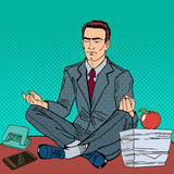 Businessman Relaxing and Meditating on the Office Table. Pop Art Stock Photography