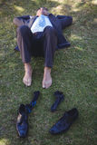 Businessman relaxing in the park Royalty Free Stock Photography