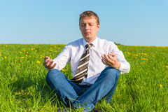Businessman relaxing relieves stress Royalty Free Stock Image