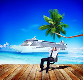 Businessman Relaxing Rest Beach Ocean Vacation Concept Stock Image