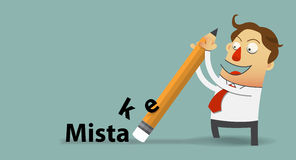 Businessman removing mistake with his eraser in flat design. Cartoon character. Vector Illustration Stock Photography