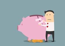 Businessman repairing cracked piggy bank Stock Images