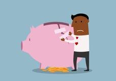 Businessman repairs damaged piggy bank Royalty Free Stock Photo
