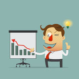 Businessman reporting on presentation board with growth up graph. Cartoon character. Vector. Stock Image