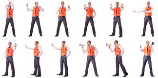 The businessman with rescue safety vest on white Royalty Free Stock Photo