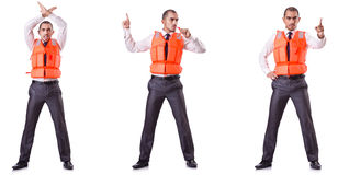 The businessman with rescue safety vest on white Stock Images